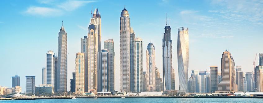 Dubai Marina in sunset time, United Arab Emirates